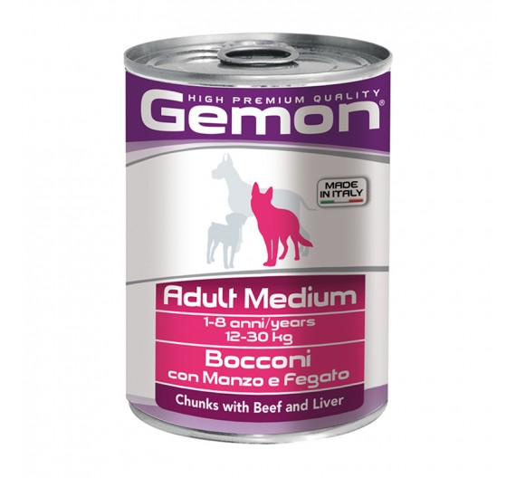 Gemon Dog Chunks Adult Medium Beef & Liver 415g