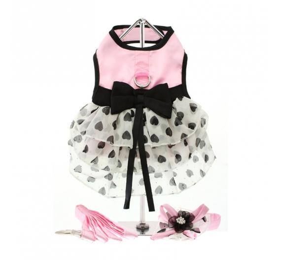 """Φόρεμα, Καπέλο και Ζώνη για Σκυλίτσα """"Pink Satin & Hearts"""""""