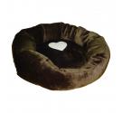 Kρεβάτι με Γούνα Στρογγυλό με Καρδιά Καφέ 50cm