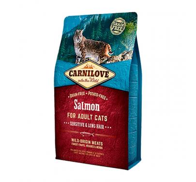 Carnilove Adult Cats Salmon Sensitive & Long Hair 2kg + 400gr ΔΩΡΟ