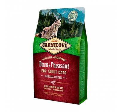 Carnilove Adult Cats Duck & Pheasant Hairball Control 2kg + 400gr ΔΩΡΟ