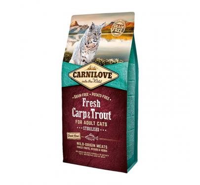 Carnilove Adult Cats Carp & Trout Sterilized 2kg + 400gr ΔΩΡΟ