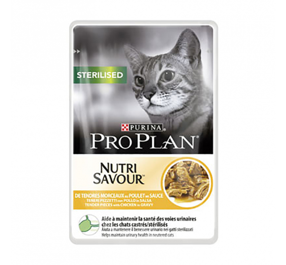 PRO PLAN Nutrisavour Sterilised Cat Κοτόπουλο σε Σάλτσα 85gr