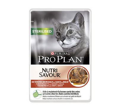 PRO PLAN Nutrisavour Sterilised Cat Βοδινό σε Σάλτσα 85gr