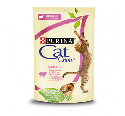 Purina Cat Chow Adult Αρνί & Πράσινα Φασολάκια σε Ζελέ 85gr