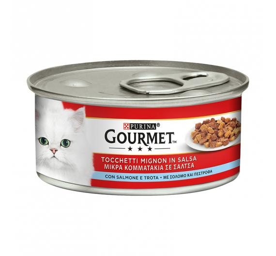 Purina Gourmet Κομματάκια σε Σάλτσα Πέστροφα & Σολομός 195gr
