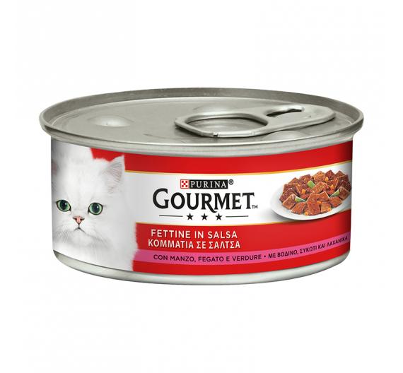 Purina Gourmet Κομμάτια σε Σάλτσα Βοδινό, Συκώτι & Λαχανικά 195gr