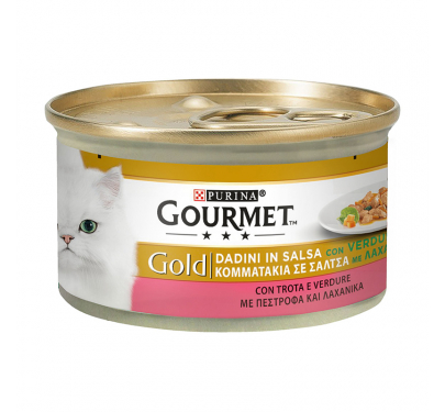 Purina Gourmet Gold Κομματάκια σε Σάλτσα Πέστροφα & Λαχανικά 85gr