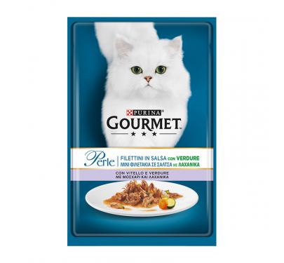 Purina Gourmet Perle Φιλετάκια σε Σάλτσα Μοσχάρι & Λαχανικά 85gr