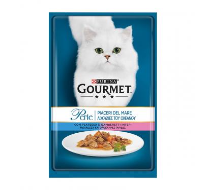 Purina Gourmet Perle Φιλετάκια σε Σάλτσα Γλώσσα & Γαρίδες 85gr