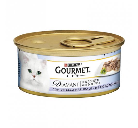 Purina Gourmet Diamnt Φιλετάκια σε Σάλτσα Μοσχάρι 85gr
