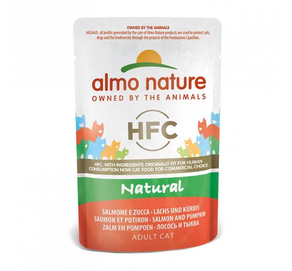 Almo Nature Natural Φακελάκι Φιλέτο Σολομός & Κολοκύθα 55gr