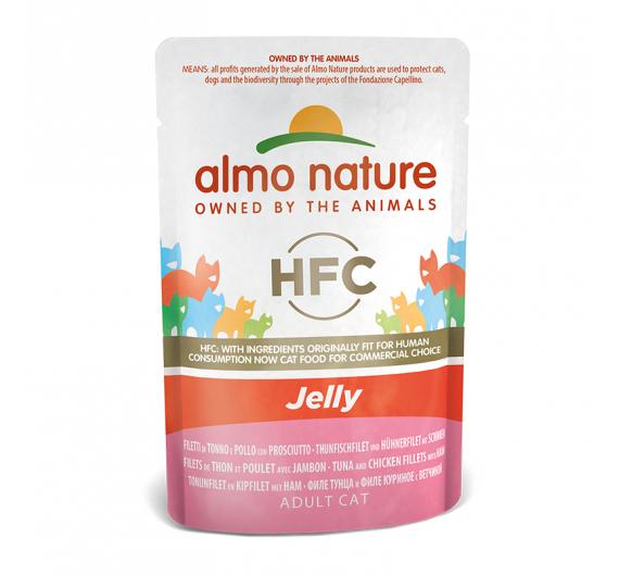 Almo Nature Φακελάκι Jelly Τόνος, Κοτόπουλο & Ζαμπόν 55gr