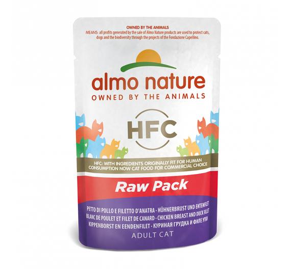Almo Nature Raw Φακελάκι Στήθος Κοτόπουλο & Φιλέτο Πάπια 55gr