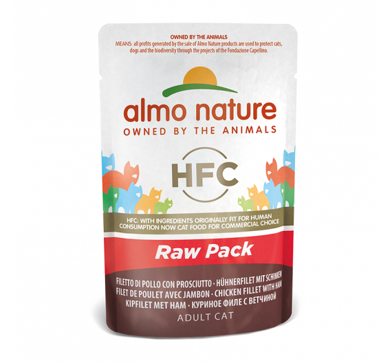 Almo Nature Raw Φακελάκι Φιλέτο Κοτόπουλο & Ζαμπόν 55gr