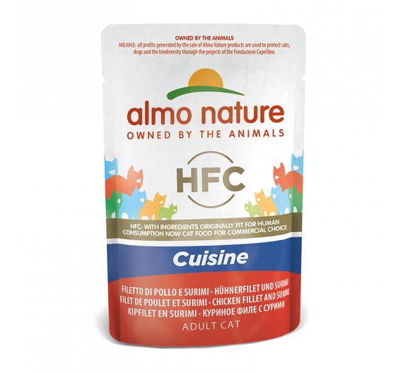 Almo Nature Cuisine Φακελάκι Φιλέτο Κοτόπουλο & Καβούρι 55gr