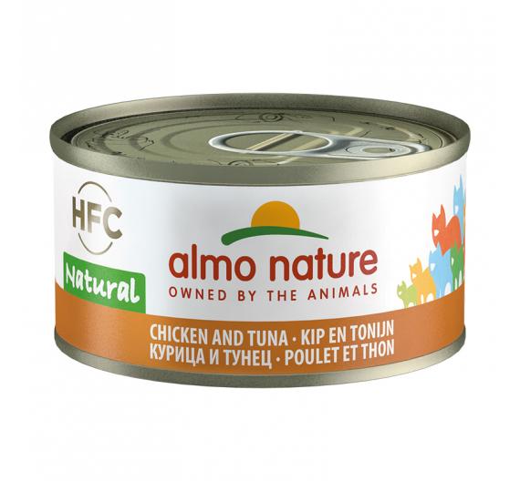 Almo Nature Natural Κονσέρβα Φιλετάκια Κοτόπουλο & Τόνος 70gr