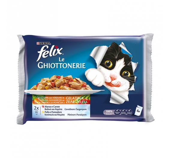 Felix Πολυσυσκευασία με Βοδινό & Καρότα σε Ζελέ & Κοτόπουλο & Ντομάτα σε Ζελέ 4x100gr