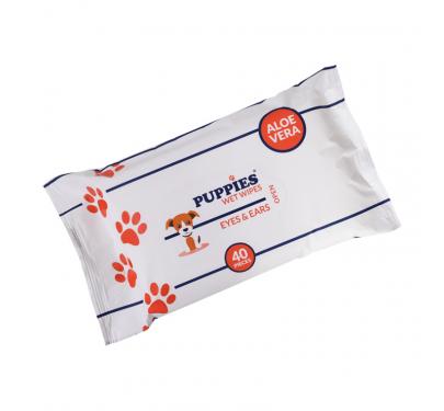 Puppies Μαντηλάκια Καθαρισμού για Μάτια & Αυτιά με Aloe Vera (40τμχ)