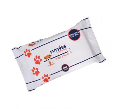 Puppies Μαντηλάκια Καθαρισμού για Σώμα & Πατούσες με Aloe Vera & Jojoba (40τμχ)