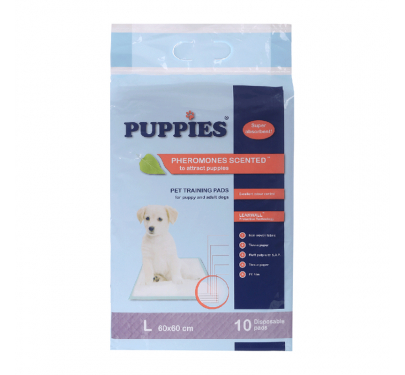 Puppies Εκπαιδευτικές Πάνες με Αυτοκόλλητο 60x60εκ. (10τμχ) + ΔΩΡΟ Μαντηλάκια για Μάτια & Αυτιά με Aloe Vera (40τμχ)