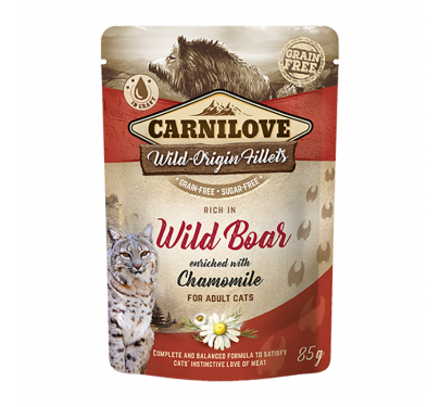 Carnilove Cat Φακελάκι Wild Boar enriched with Chamomile 85gr