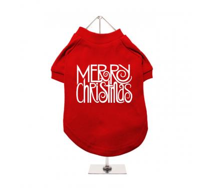 "Urban Pup Μπλουζάκι Σκύλου Κόκκινο ""Merry Christmas"""
