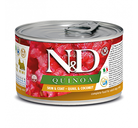 N&D Quinoa Grain Free Skin & Coat Quail Mini 140gr