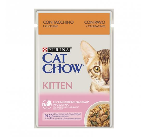 Purina Cat Chow Kitten Γαλοπούλα & Κολοκυθάκια σε Ζελέ 85gr