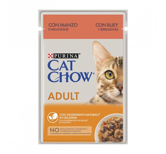 Purina Cat Chow Adult Bοδινό & Μελιτζάνες σε Ζελέ 85gr