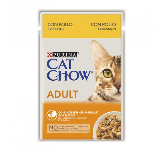 Purina Cat Chow Adult Κοτόπουλο & Κολοκυθάκια σε Ζελέ 85gr