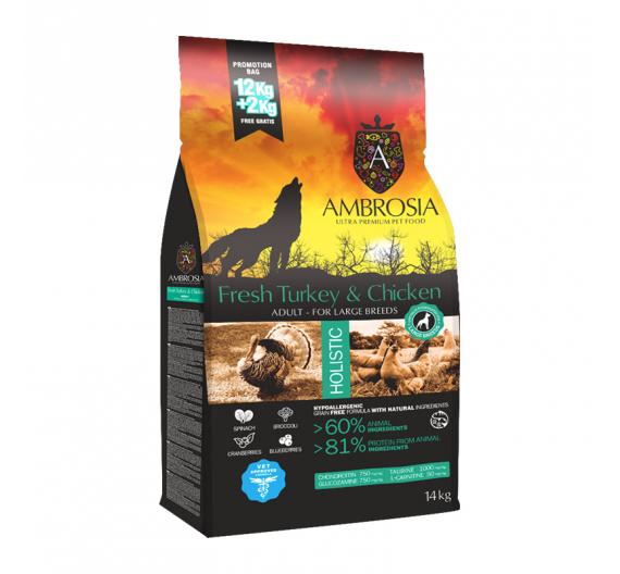 Ambrosia Grain Free Adult Large Turkey & Chicken 12kg + 2kg ΔΩΡΟ