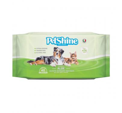 Petshine Υγρά Μαντηλάκια Καθαρισμού Aloe Vera 40τμχ