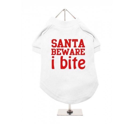 """Χριστουγεννιάτικο T-shirt Σκύλου """"Santa Beware I Bite"""""""