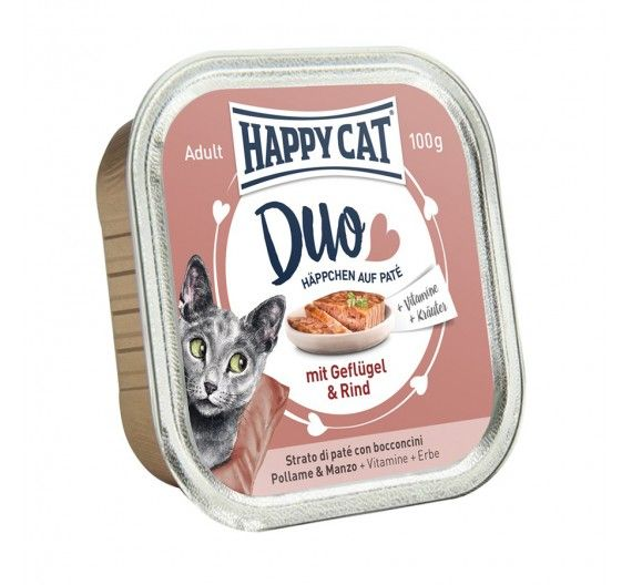 Happy Cat Duo Πουλερικό & Βοδινό 12x100gr