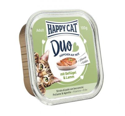 Happy Cat Duo Πουλερικά & Αρνί 12x100gr
