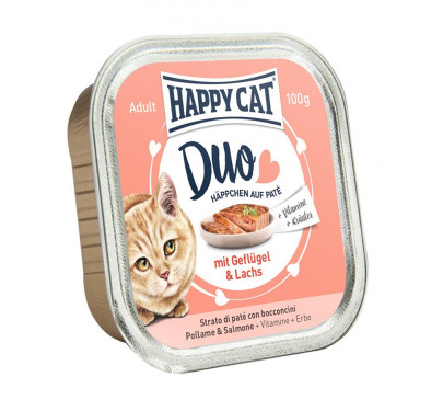 Happy Cat Duo με Πουλερικά & Σολομό 12x100gr