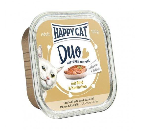 Happy Cat Duo με Βοδινό & Κουνέλι 12x100gr