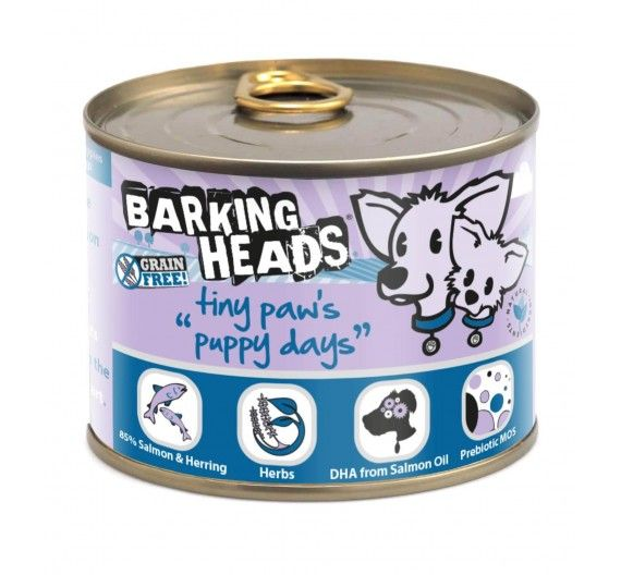 Barking Heads Tiny Paws Puppy Days με Σολομό & Ρέγγα - 200g